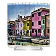 Burano Italy - Colorful Homes Shower Curtain