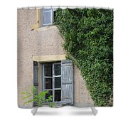 Wood Shutters With Vine Shower Curtain