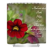 Burgundy Calibrochoa Greeting Card With Verse Shower Curtain