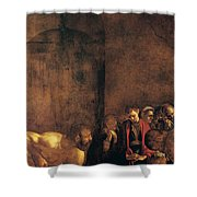 Burial Of St Lucy Shower Curtain by Caravaggio