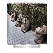 Burlap And Brick Shower Curtain