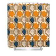 Burlap Blue And Orange Design Shower Curtain by Linda Woods