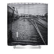 Burlington Vermont Train Yard Vintage Grunge Black And White Shower Curtain