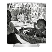 Burmese Grandmother And Grandchild Shower Curtain