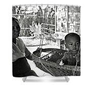 Burmese Grandmother And Grandchild Shower Curtain by RicardMN Photography