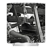 Burmese Woman Working With A Handloom Weaving. Shower Curtain by RicardMN Photography