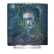 Burn It Blue Frida Shower Curtain