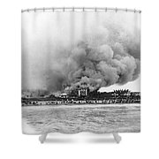 Burning Of The Breakers Hotel Shower Curtain