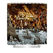 Burning Of The Royal Library Shower Curtain