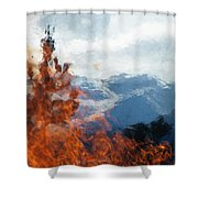Burning The Winter Blues Away Shower Curtain