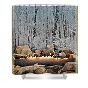Burning Yule Log Shower Curtain