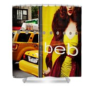 Bus Poster With Taxis - New York Shower Curtain
