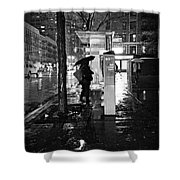 Bus Stop In The Rain Shower Curtain
