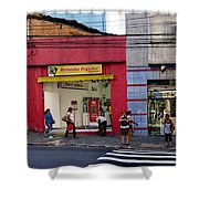 Bus Stop On Rua Teodoro Sampaio Shower Curtain