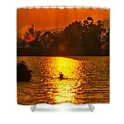 Bushfire Sunset Over The Lake Shower Curtain