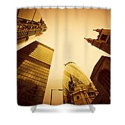 Business Architecture Skyscrapers In London Uk Golden Tint Shower Curtain