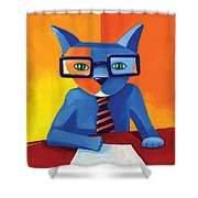 Business Cat Shower Curtain by Mike Lawrence