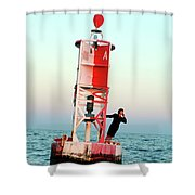 Business Woman On A Buoy Shower Curtain
