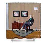 Businesswoman Sitting In Chair Shower Curtain