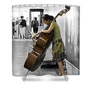 Busking Parisian Cellist Shower Curtain