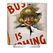 Buster Is Coming Shower Curtain by Aged Pixel