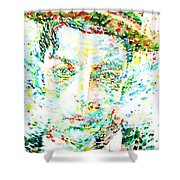 Buster Keaton - Watercolor Portrait Shower Curtain
