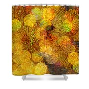 Busy Bee In The Marigolds Shower Curtain