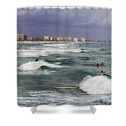 Busy Day In The Surf Shower Curtain