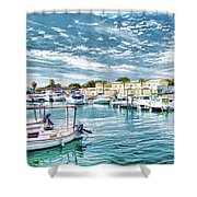 Busy Marina Shower Curtain
