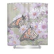Butterflies And Bee Shower Curtain