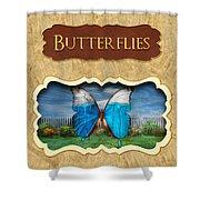 Butterflies Button Shower Curtain
