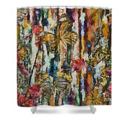 Butterflies In Plum Blossoms And Texture Shower Curtain