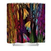 Butterflies On The Curtain Shower Curtain