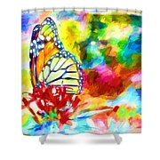 Butterfly Abstracted Shower Curtain
