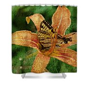 Butterfly And Lily Shower Curtain