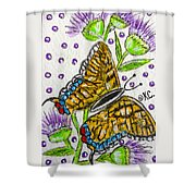 Butterfly And Thistles Shower Curtain