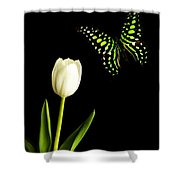 Butterfly And Tulip Shower Curtain