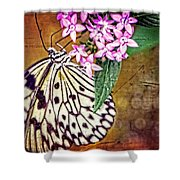 Butterfly Art - Hanging On - By Sharon Cummings Shower Curtain