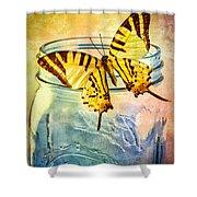 Butterfly Blue Glass Jar Shower Curtain
