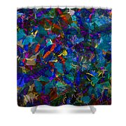 Butterfly Collage Blue Shower Curtain