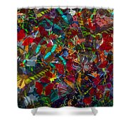 Butterfly Collage Red Shower Curtain