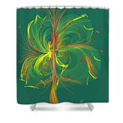 Butterfly In Green Shower Curtain