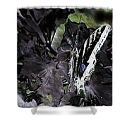 Butterfly In Violet Green And Black Shower Curtain