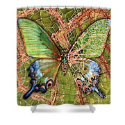 Butterfly Mosaic 03 Elena Yakubovich Shower Curtain by Elena Yakubovich