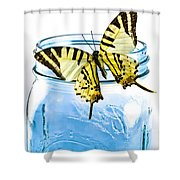Butterfly On A Blue Jar Shower Curtain by Bob Orsillo