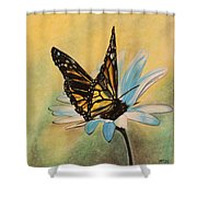 Butterfly On Flower Shower Curtain