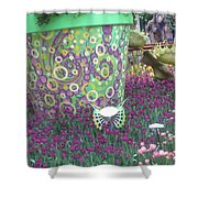 Butterfly Park Garden Painted Green Theme Shower Curtain