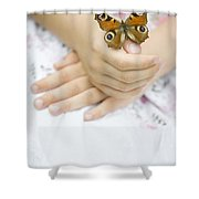 Butterfly Resting On A Girls Hand Shower Curtain