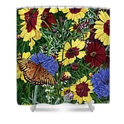 Butterfly Wildflowers Garden Oil Painting Floral Green Blue Orange-2 Shower Curtain