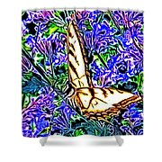 Butterfly With Purple Flowers 2 Shower Curtain